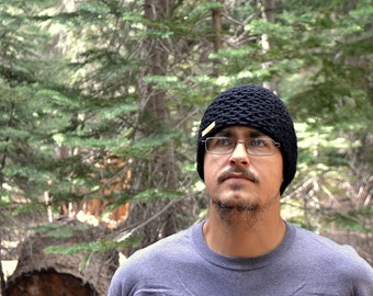 Hand Knit Beanie Hat Waffle Knit Winter Chunky Skullcap Hat Wool Blend More Color Options