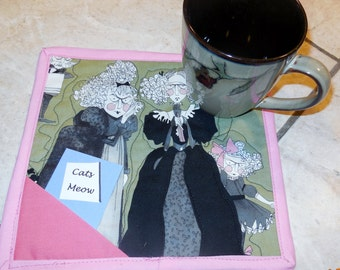 Swinging 20's gals , cats's meow, mug rugs, set of 2, snack mats, coffee, tea, milk, cookies, hand quilted