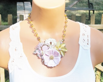 Jewelry Collage Necklace, Lilac Purple, keyhole lock, Matching Earrings