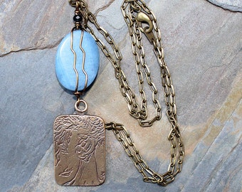 Light Blue Mother's Day Necklace, Mother Child Necklace, Love Necklace, Bronze Necklace, Wire Wrapped Necklace, Jade Necklace, Stone Jewelry