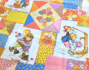Juvenile Cotton Fabric Calico Patchwork Cheater Quilt in Pink, Red, Yellow, Blue Retro Children Boys and Girls Print Two Yards Yardage