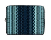 Tribal netbook case, laptop sleeve, laptop cover, computer sleeve, laptop case, to fit 15.6, 10, 13, 15, 17 inch, coworker gift, blue ombre
