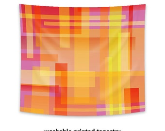 Printed Wall Tapestry, colorful tapestry, color blocks geometric tapestry, modern decor, wall decor, large wall art, wall hanging, orange