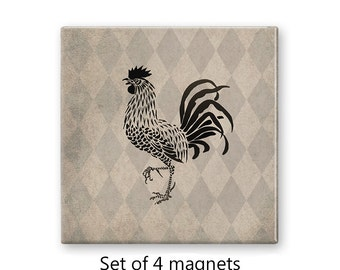 Rooster magnet set, chicken fridge magnets, rustic refrigerator magnets, set of 4 decorative magnets, kitchen decor, art magnets, tan