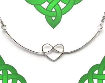 Celtic Heart Pendant - Simple Silver Love Knot Necklace