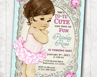 1st Birthday Invitation for Girl - Shabby Chic Birthday - Floral - Antique - Vintage Roses -  DIY Printable