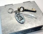 Skeleton Key Chandelier Crystal Key Chain Purse Charm