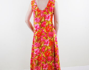 Vintage 60's floral maxi dress / muu muu, tiki fashion, pink, magenta, brown, yellow, cape like draping, sleeveless, Hawaiian - Small