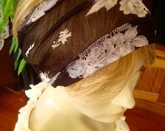 womens Headband extra Wide Headband black and whiteface mesh  Comfortable Yoga turband