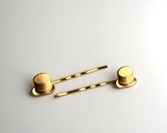 top hat hairpins . gold tone bobby pins . hair pin accessories