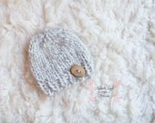 Boy's Beanie in Natural, Adorable Photography Prop for Newborn and Ready to Ship