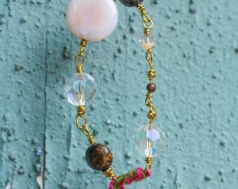 L.A. Raised-Holly-Gemstone & bead bracelet