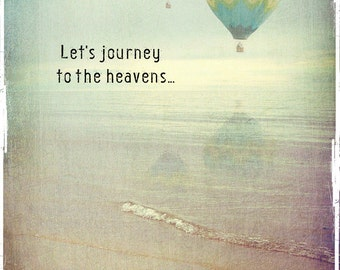 Blank note card, A6, romance, hot air balloons, beachscape, ocean, sea, sunset, sky, Valentine's day - Let's journey to the heavens