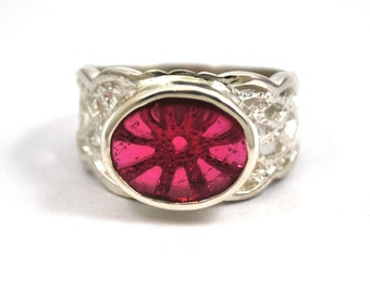 Ruby Bright Red Synthetic Created Cabachon Upcycled Gemstone Sterling Silver Ring July Birthstone