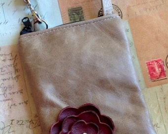 Taupe Red Burgundy Leather Flower Cell Phone Galaxy Iphone Camera Sling Crossbody Case Zipper Pouch Small Purse