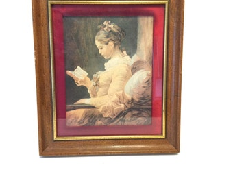 Vintage Young Girl Reading by Fragonard, Framed Lithograph Print, Vintage Wall Art, Vintage Victorian Wall Decor,  Vintage Wall Hanging