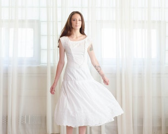 Vintage 1920s Dress - 20s Cotton Dress -