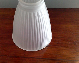 Vintage Ribbed White Frosted Round Glass Lamp Light Shade Sconce