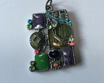 Enamel Abstract Collage Pendant - 28mm x 34mm