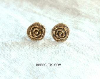 Rose Earrings Stud Earrings Post Earrings Flower Earrings Simple Earrings Gold Earrings Surgical Steel Post Studs