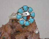 Turquoise Coral Mother of Pearl Sterling Silver Ring