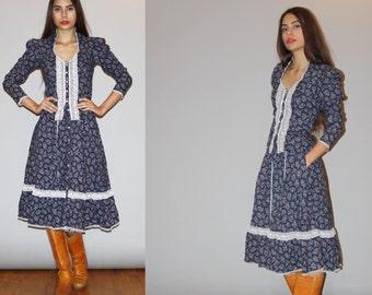 RARE 2 piece skirt and blouse Gunne Sax Vintage 1970s Floral Prairie - 70s Gunne Dress - 1970s Prairie Floral Dress  - WB0480