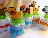Diaper Cakes Safari Animals..Safari Animal Baby Shower..Zebra..Monkey..Giraffe..Elephant..Tiger..Lion..Crock..Baby Washcloths..Adorable :)