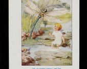 1930 FAIRY TALES Antique print, a sweet children illustration, child and dragonfly in the river, in pastel colors,  Fantasy