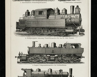 1893 Antique print of a TRAIN, old transports, Steam Railway