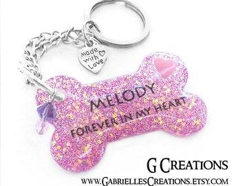 Dog Memorial Key Ring - Personalized Custom Cute Dog Key Chain - Pet Keyring - Handmade Remembrance Accessory - Purple Glitter Pet Memorial