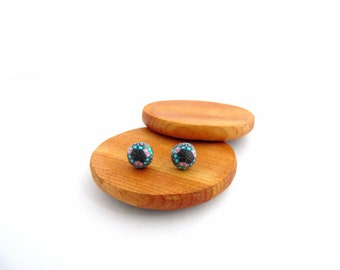 Small Intricate Stud Earrings, Dome, Fimo Professional Polymer Clay and Stainless Steel, Hypo Allergenic, Supremily Jewellery