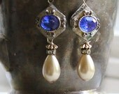English Garden earrings ~ assemblage earrings vintage one of a kind cobalt blue rhinestones tear drop pearls crowned by grace