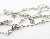 White Crystal Bezel Long Necklace Sterling Silver