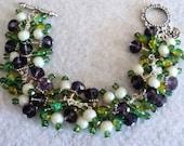 Charm Bracelet, Cha Cha Bracelet, Spring Bracelet, Spring Jewelry, Pansy Bracelet, Floral Bracelet - SPRING PANSIES