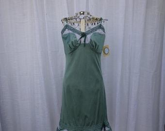 Slip Dress 32/34 Small Forest Grass Green Glam Garb Handmade USA Romantic Nightgown Victorian Nightie Rockabilly Vintage Hand Dyed Bohemian