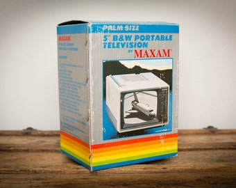 "Maxam Portable Television w/Retro Rainbow Box, 5"" B&W TV, Vintage 80s"