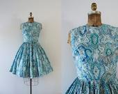 1960s Grecian Aquatics paisley day dress / 60s Mediterranean blues