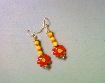 Orange and Yellow Flower Earrings (1400)