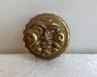 Vintage Solid Brass Box Sun Face Round Hand Cast With Patina, Celestial Zodiac Sign, Bohemian Hippie