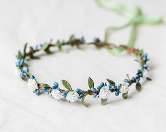 blue and white rose, leaf & berry flower crown // bridal wedding flower crown headband rustic forest garden spring woodland headpiece