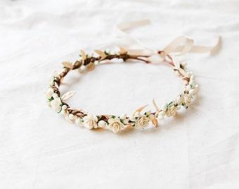 ivory cream gold rose, leaf & berry flower crown // bridal wedding flower crown headband rustic forest garden spring woodland headpiece