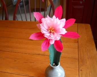 Cactus Flower, Crepe Paper Flower, Night Blooming Cactus , Home Decor, Flower Gift with Vase included