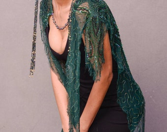 Dark GreenVintage UpCycled Sheer Beaded Women's Reversible Wrap, Beaded Shawl, Beaded Collar, Lingerie, 1920's Style Accessory, Scarf