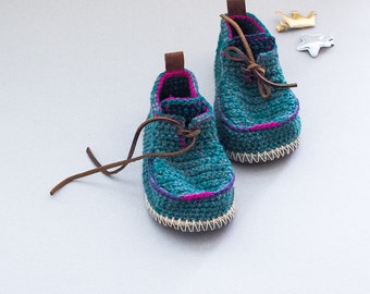 Children Boot-laced Boots in green and bright turquoise mix with pink/purple trim - House Shoes - Children U.S. sizes 8-13/EUR 25-31