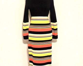 vintage striped knit maxidress - 1960s mod black/yellow/orange tie-waist long dress