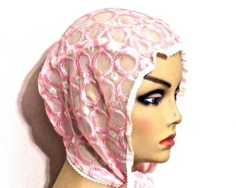 vintage pink kerchief - 1950s pink sheer tie neck bonnet hat