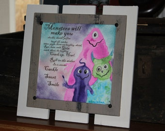 Framed Watercolor Original Art Work of Monsters 12x12 frame with 8x8 painting