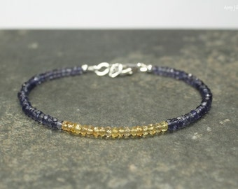 Yellow Sapphire & Iolite Bracelet, Yellow Sapphire Jewelry, September Birthstone, Beaded, Gemstone Jewelry