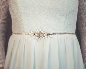Gold bridal sash - Gold rhinestone sash - Thin gold sash - Gold rhinestone belt - Bridal rhinestone sash
