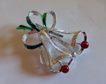 vtg signed GERRY'S Brooch Pin / Christmas Bells Holiday Xmas / silvertone / Green Blue Red / Gatsby Deco Retro / FREE Shipping usa